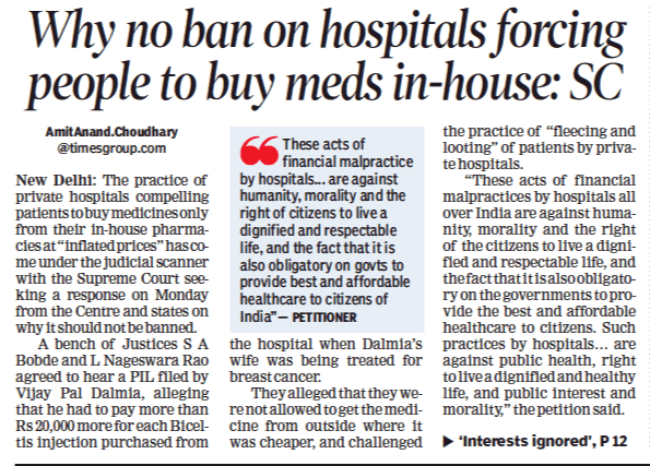 The Supreme Court Sought A Response From The Centre And All States On A Plea Seeking A Ban On The Practice Of Private Ho Legal Services Private Hospitals Legal