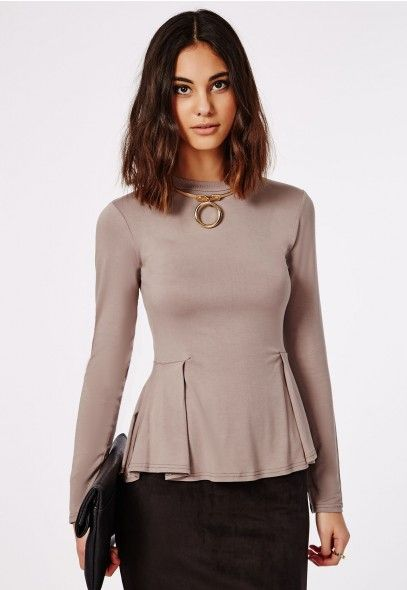 Long Sleeve Peplum Top Taupe - Tops - Peplum Tops - Missguided ...