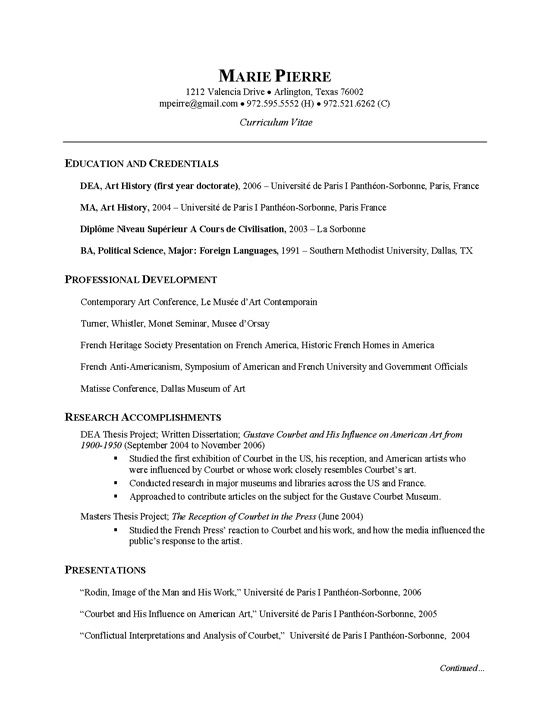 Researcher CV Example Cv examples, Sample resume and Resume examples - sample artist resume