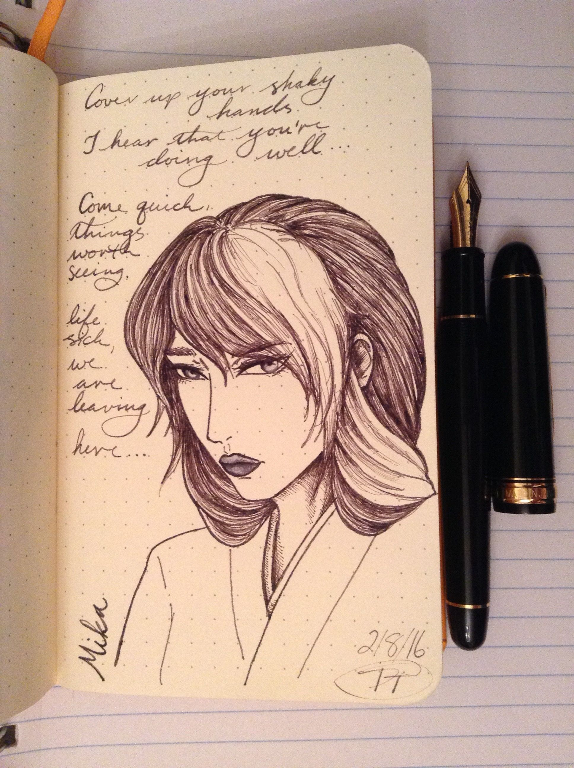 Day 39: Mika, a shrine maiden. Formerly a romantic and happy girl, the war changed her to morose and near-mute, her hair turning white prematurely from the trauma of her lord's execution. Diamine Salamander in a Platinum 3776 Century Black SF