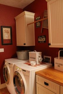 Country Rustic Red Laundry Room Red Laundry Rooms