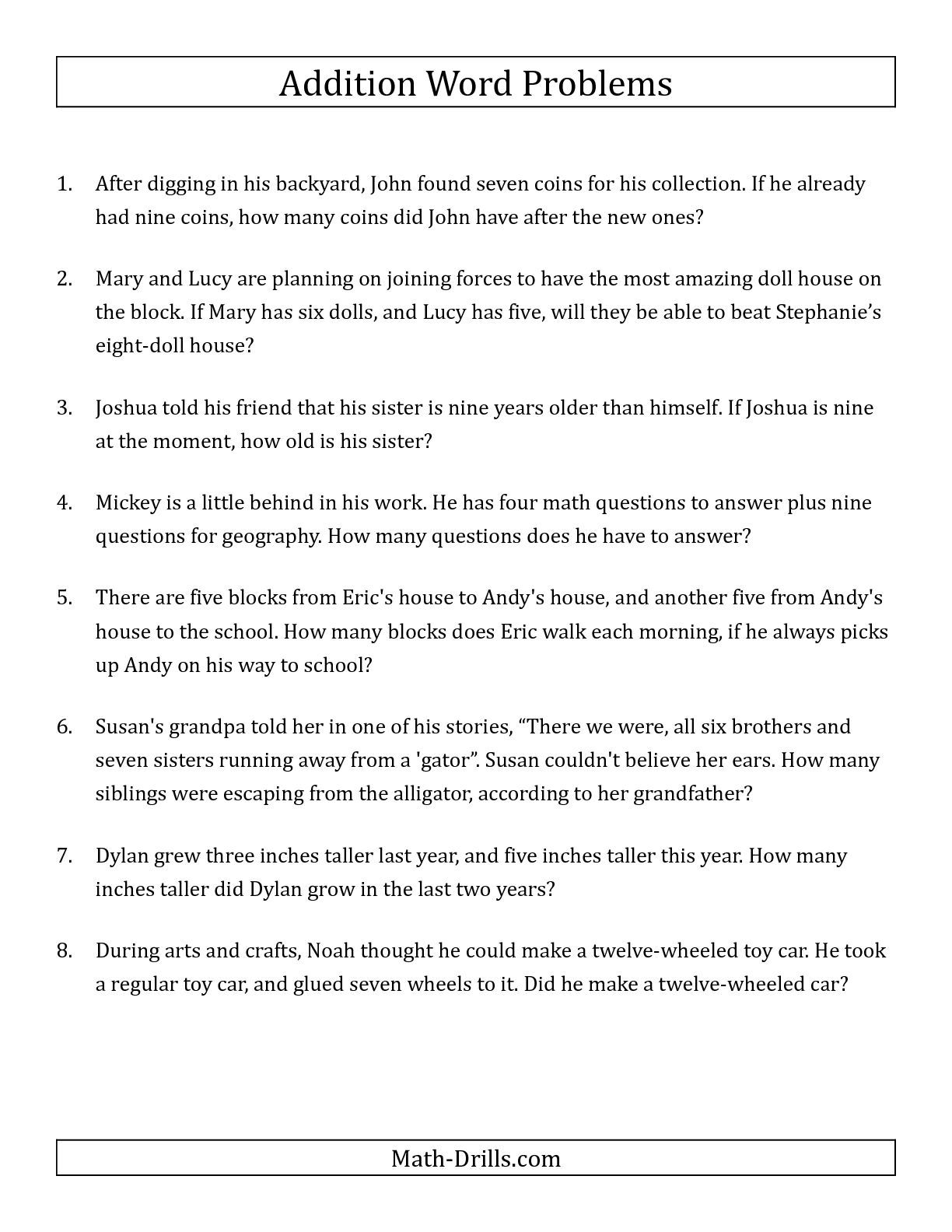 The Single Step Addition Word Problems Using Single Digit Numbers A Word Problems Worksheet