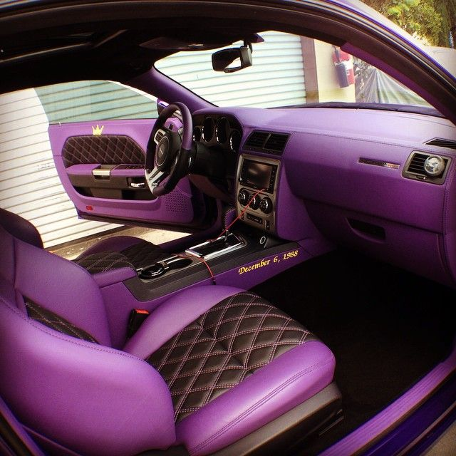 dodge challenger purple and black interior double diamond stitch auto addiction interiors. Black Bedroom Furniture Sets. Home Design Ideas