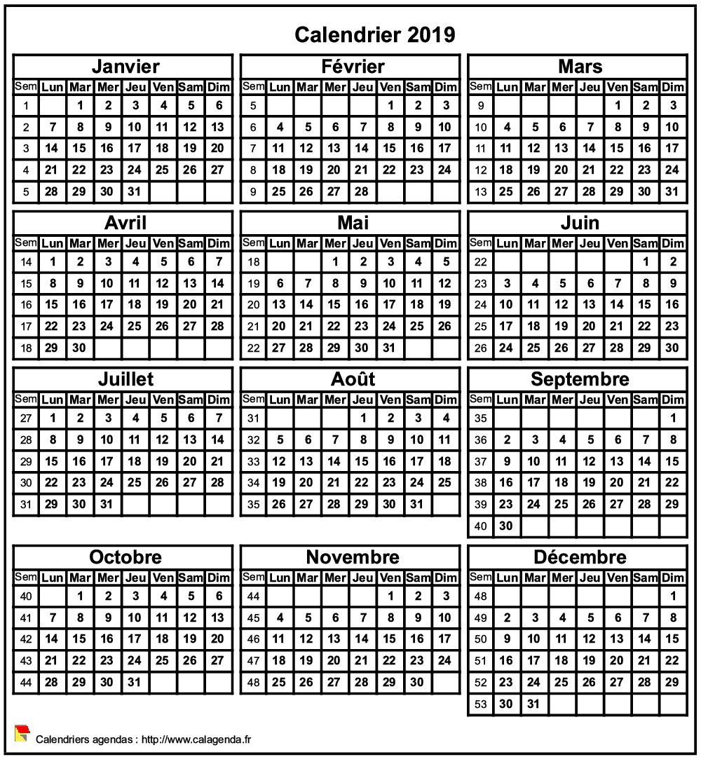 Calendrier 2019 Excel A Telecharger.Calendrier 2019 Format Portrait Calendrier Calendrier