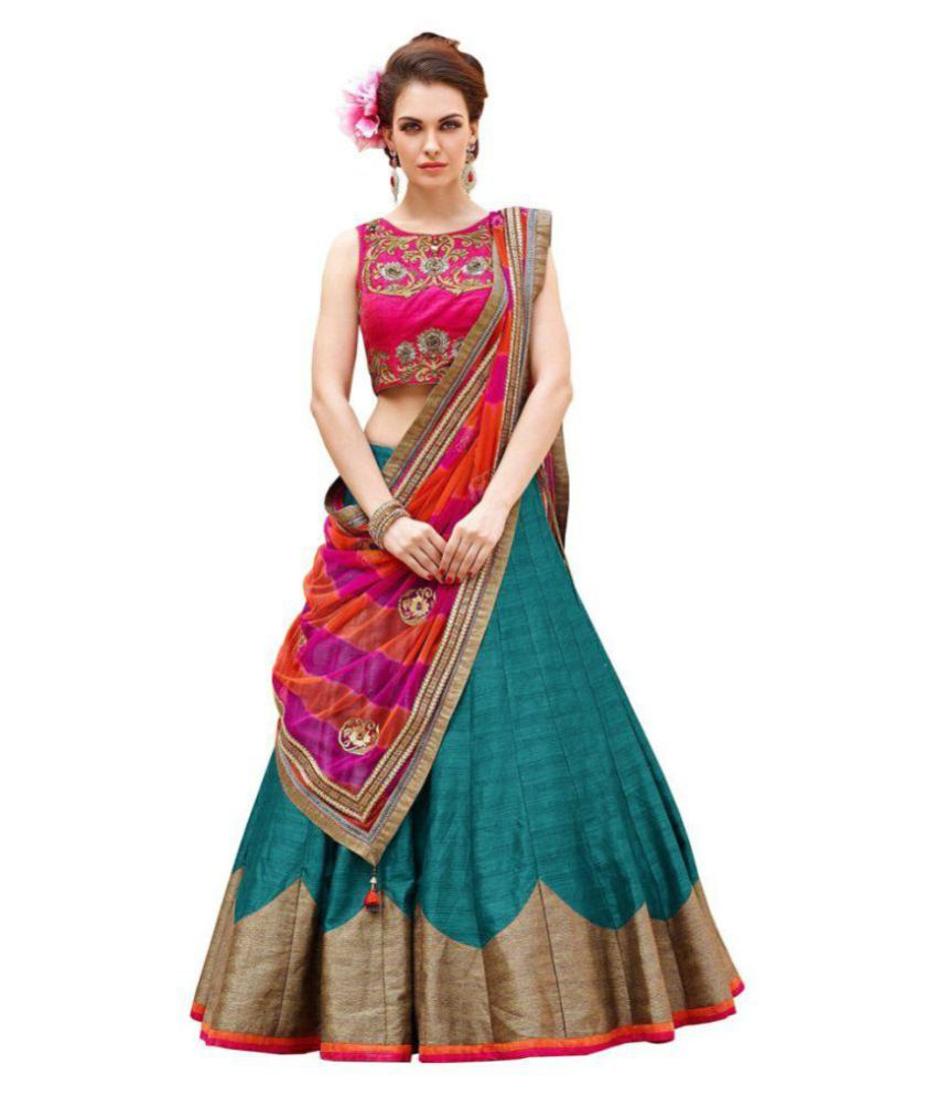 45090782fe Rainbow Creation Turquoise Bangalore Silk Circular Semi Stitched Lehenga  Price in India - Buy Rainbow Creation Turquoise Bangalore Silk Circular Semi  ...