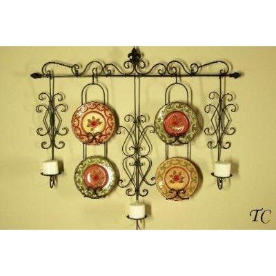 Wrought Iron Wall Candle \u0026 Plate Holder Rack  sc 1 st  Pinterest & Wrought Iron Wall Candle \u0026 Plate Holder Rack | Home | Pinterest ...