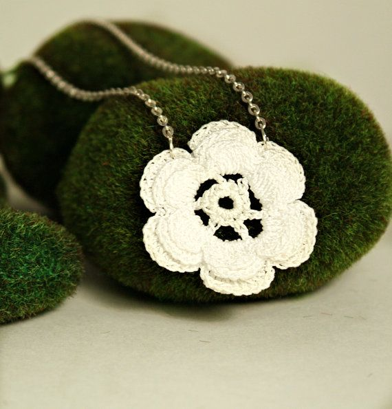 Handcrafted Crocheted Flower Doily Necklace