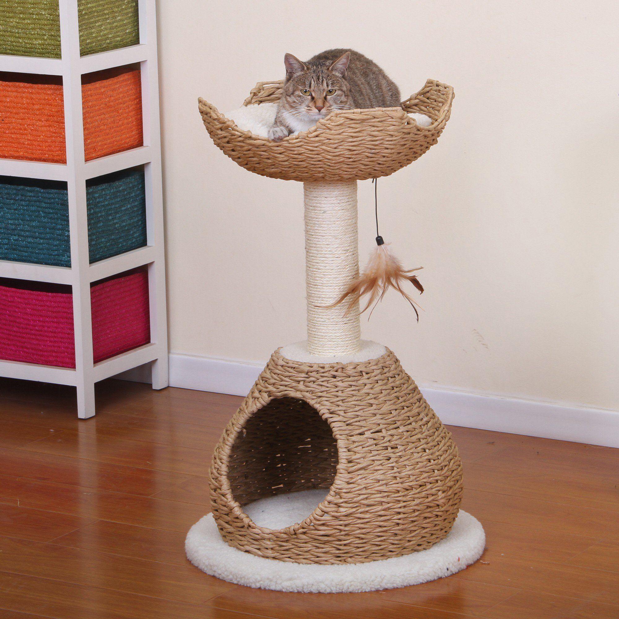 Petpals Group Walkup Natural Color Cat House With Condo Perch 19 L X 19 W X 30 H Petco Cat Tree Cat Condo Cat Furniture