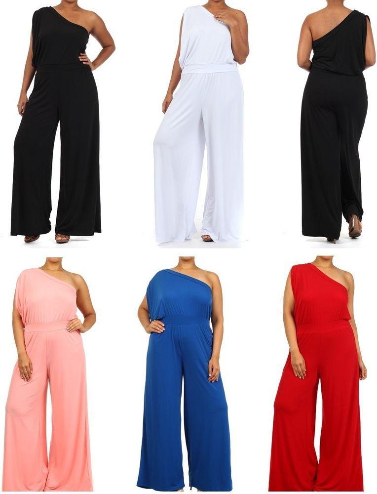 Plus Size One Shoulder Wide Leg Palazzo Pants Suit Dress Jumpsuit