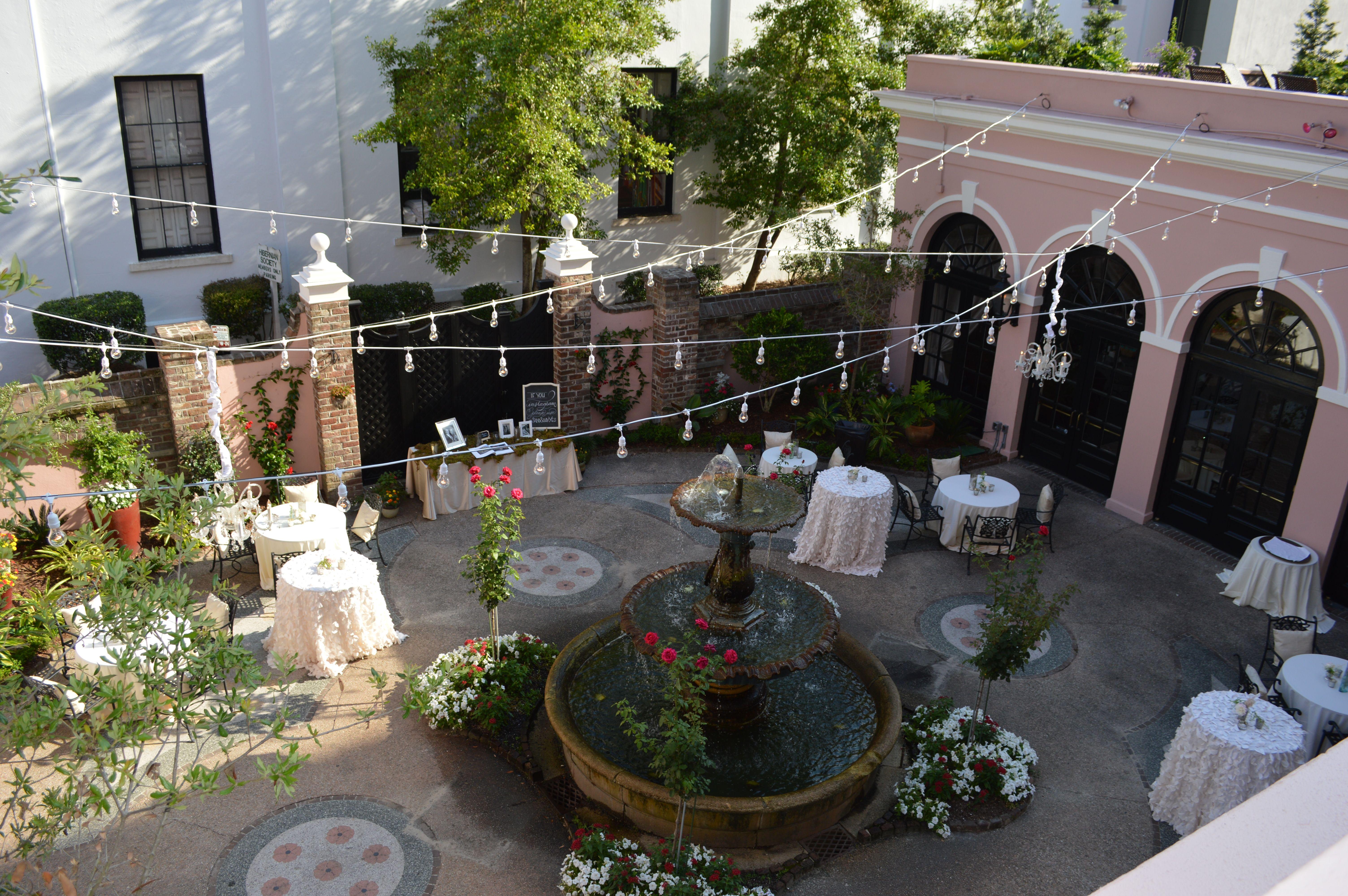 Charleston Decor. The Mills House  Courtyard Wedding Charleston South Carolina SC String