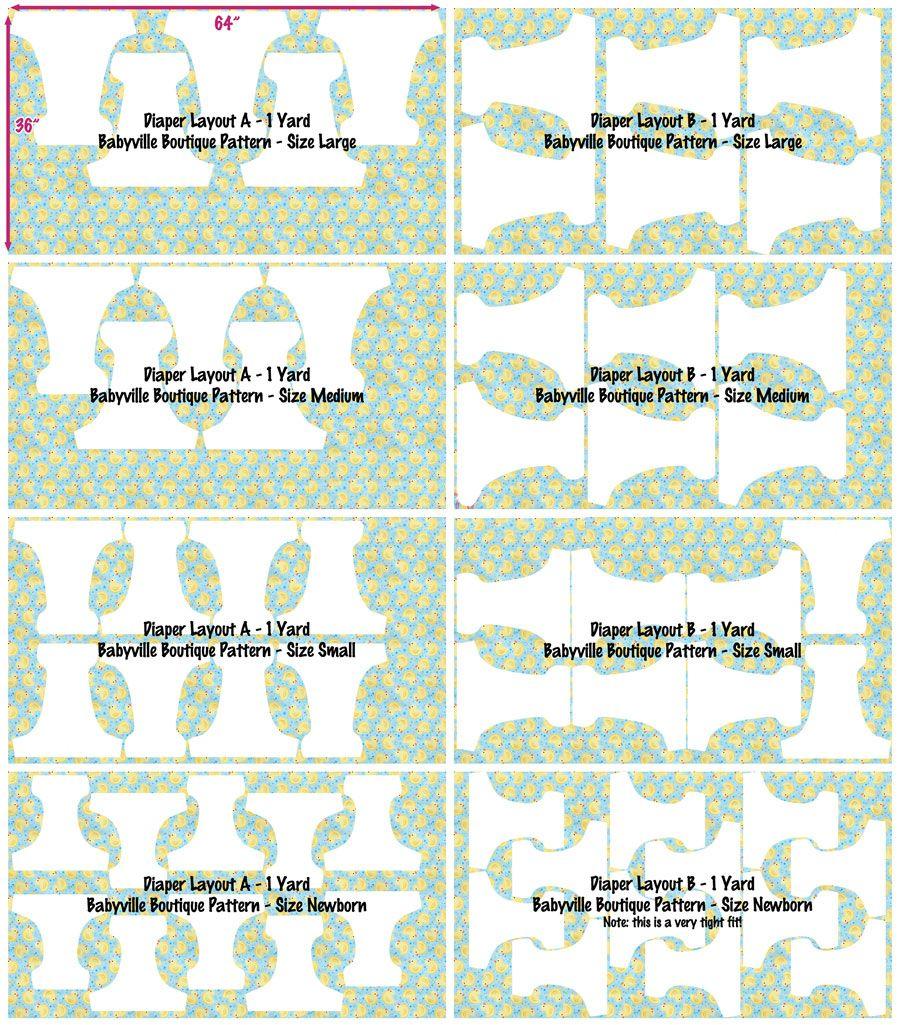 Babyville Boutique™ Diaper Pattern Layouts | Babyville Boutique ...