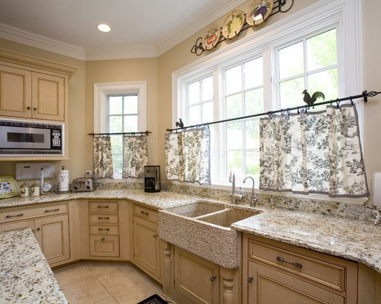 decorating traditional kitchen with black and white cafe curtains with natural pattern design also cream wall paint color also white traditional windows - Country French Decor