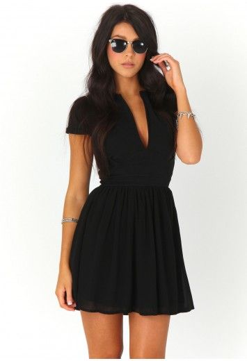 Evangeline V Neck Skater Dress-dresses-missguided ($20-50) - Svpply