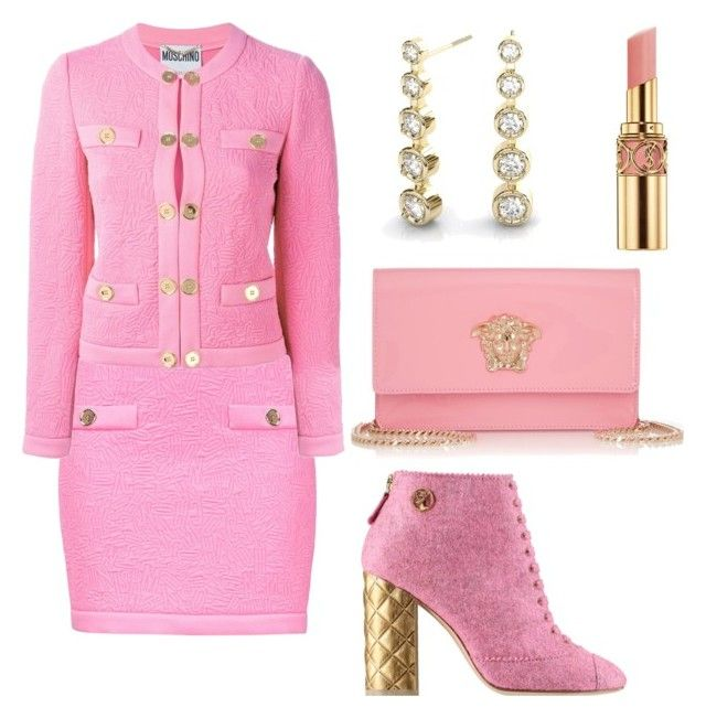 """Tweed style"" by kamiren ❤ liked on Polyvore featuring мода, Moschino, Yves Saint Laurent, Chanel и Versace"
