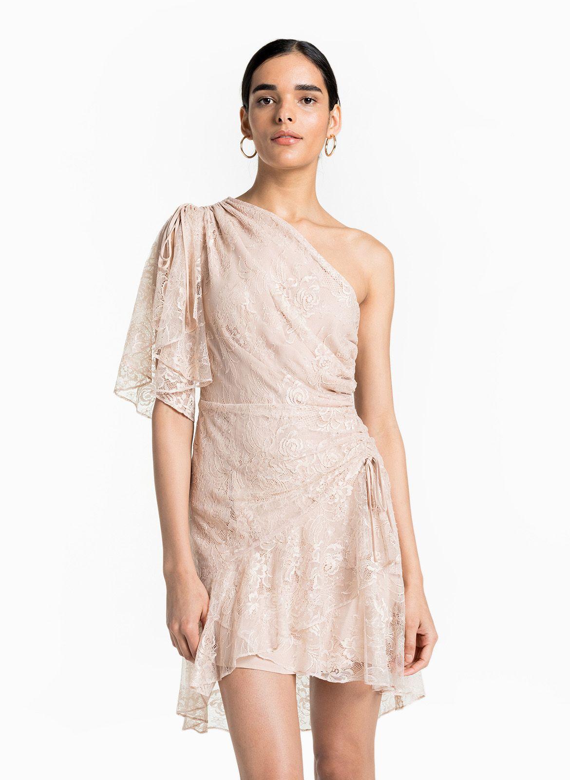 A L C Misha Dress Blush Pink One Shoulder Lace Dress Bridal Shower Engagement Party Rehearsal Dinner Dre Dresses Rehearsal Dinner Dresses Short Wedding Dress