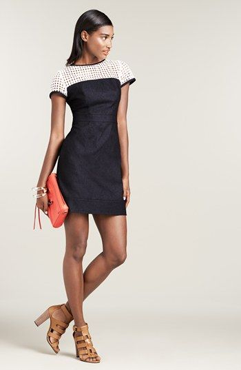 8a5e81ecb7367 Donna Morgan Perforated Illusion Yoke Denim Sheath Dress (Regular   Petite)  available at  Nordstrom