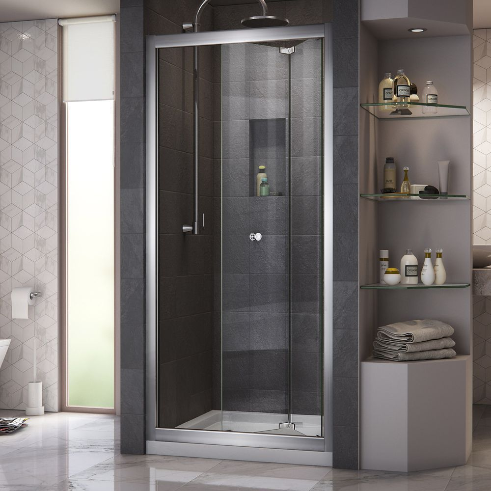 Butterfly 32 Inch D X 32 Inch W Bi Fold Shower Door In Chrome With Center Drain Biscuit Base Kit Bifold Shower Door Shower Doors Framed Shower Door