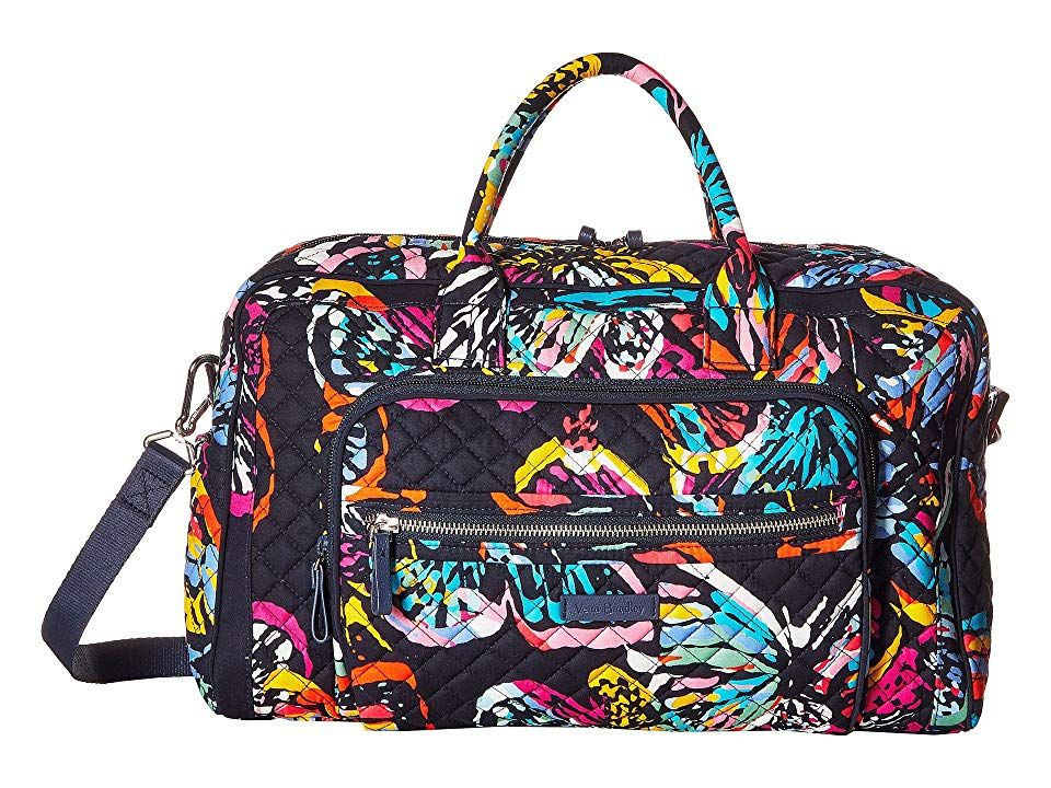 Vera Bradley Iconic Compact Weekender Travel Bag (Butterfly Flutter)  Weekender Overnight Luggage. a6c826b26c
