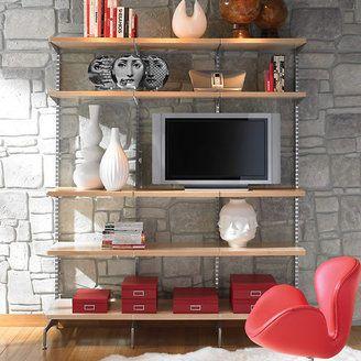 Elfa Birch Platinum Decor Freestanding Entertainment Wall