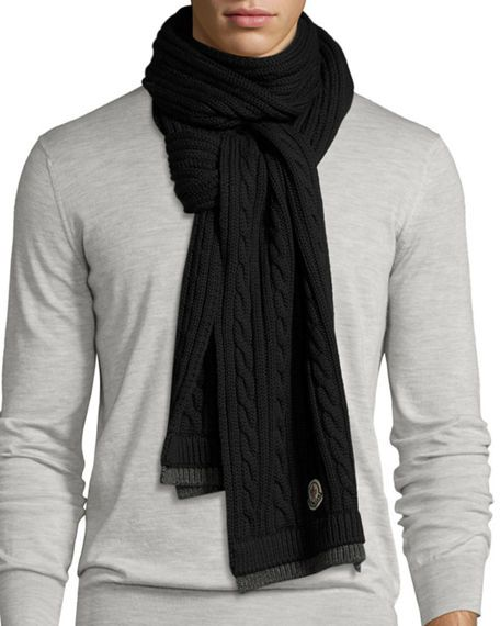 MONCLER Men S Bicolor Wool Cable-Knit Scarf 19894b4bc6b