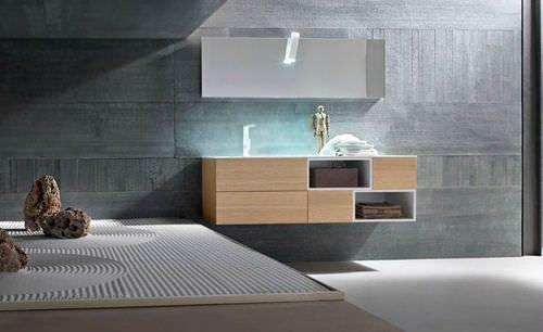 Mueble de lavabo moderno   de madera   suspendido   con espejo SKY