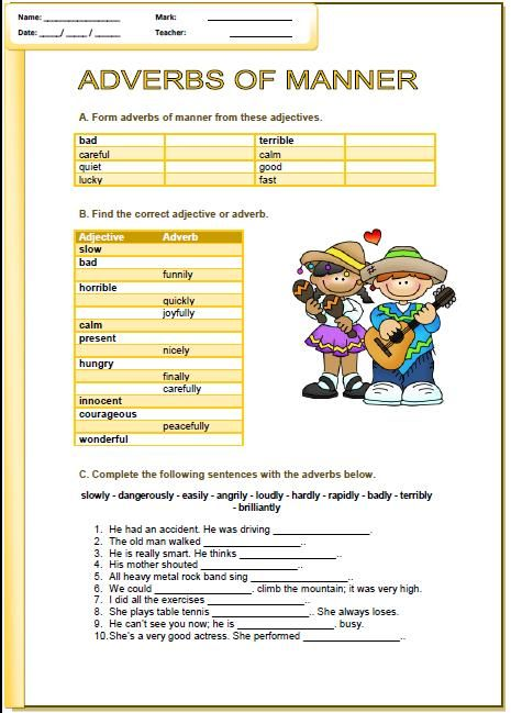 Adverb worksheets for grade 1