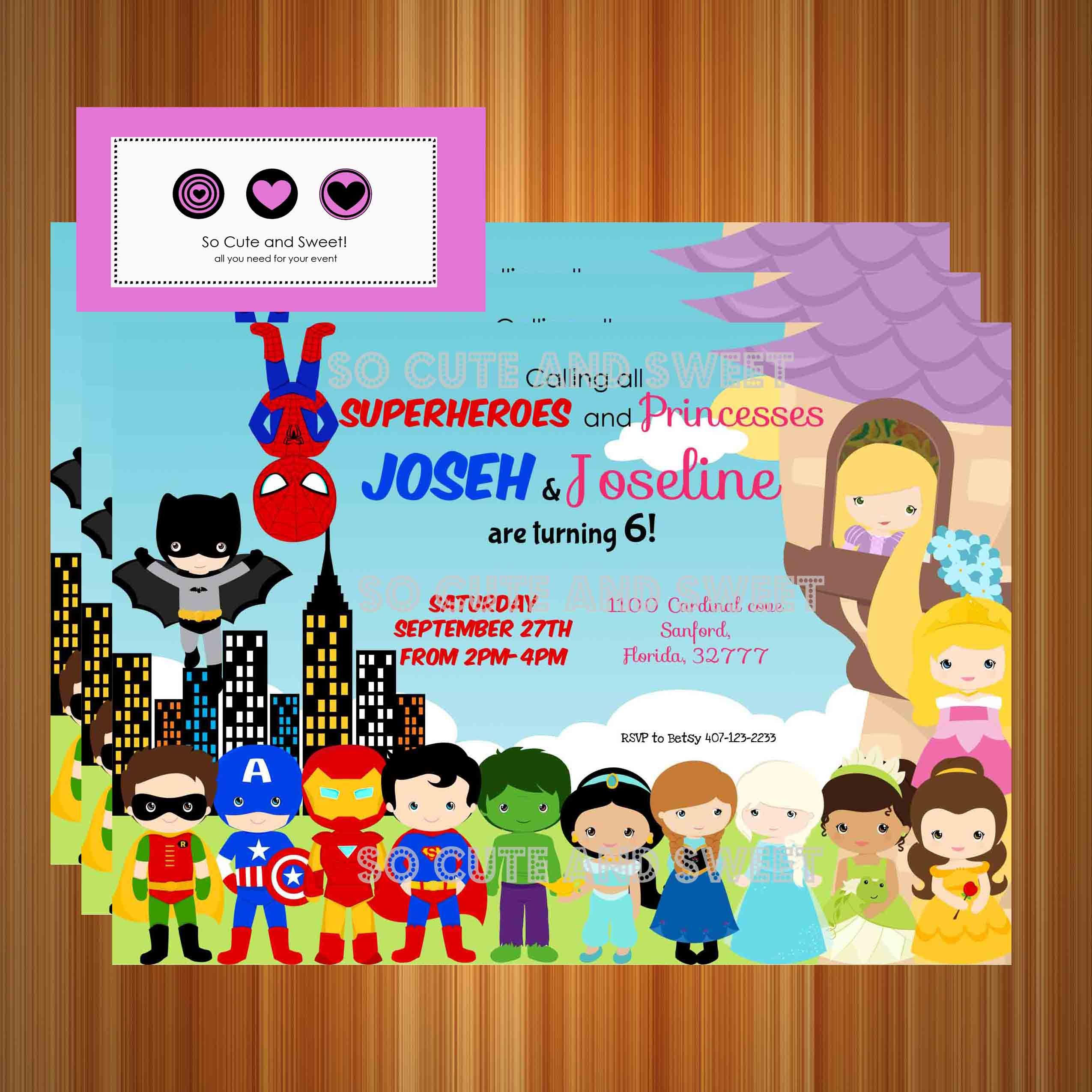 Superheroes and Princesses Birthday Invitation – Birthday Party ...