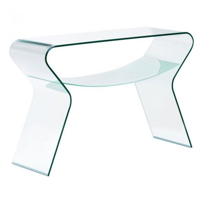 Modern Bent Glass Console Table with Shelf Yoga Modern Consoles