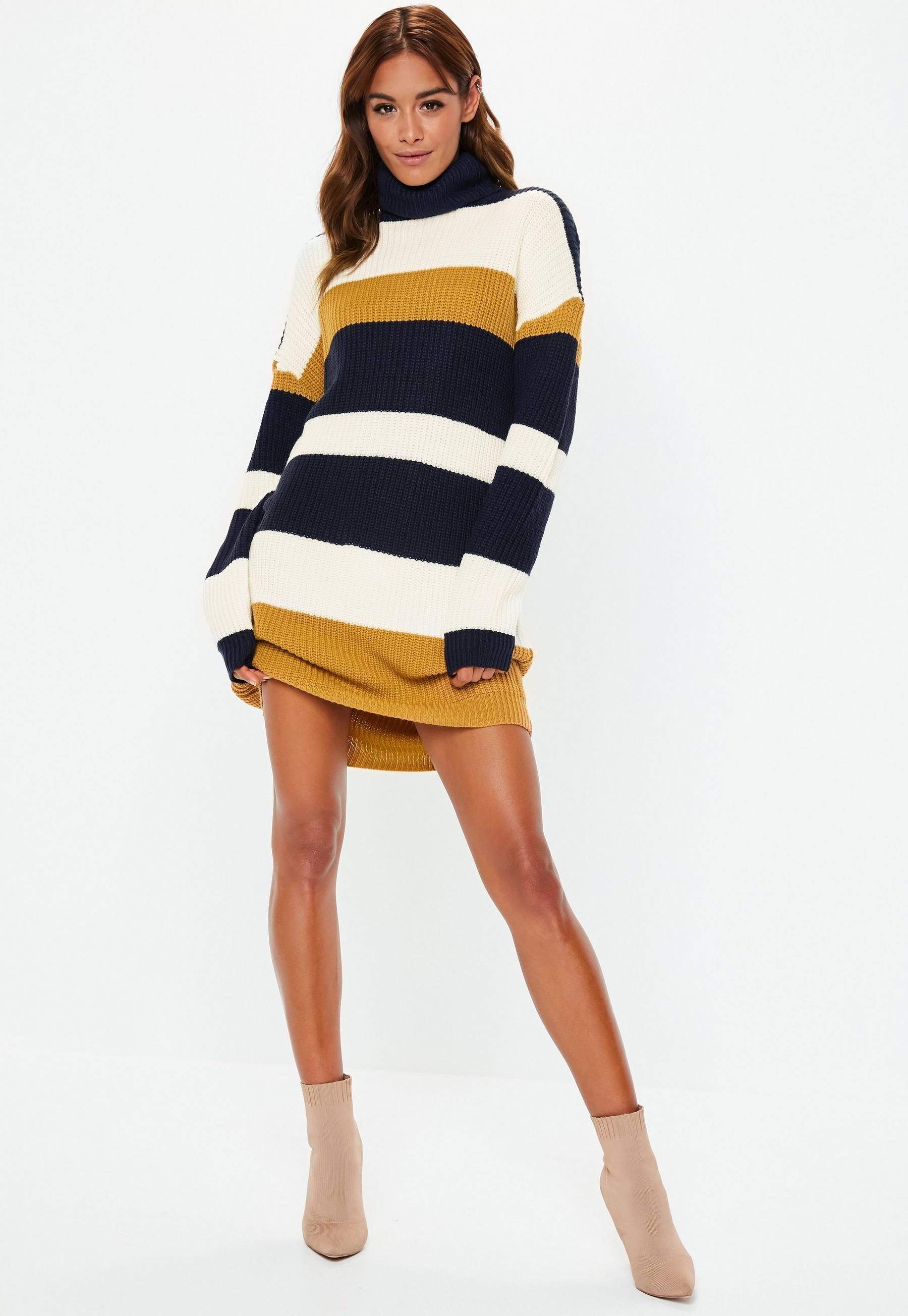 78165d6d046eaf Mustard Oversized Colorblock Roll Neck Sweater Dress | Missguided