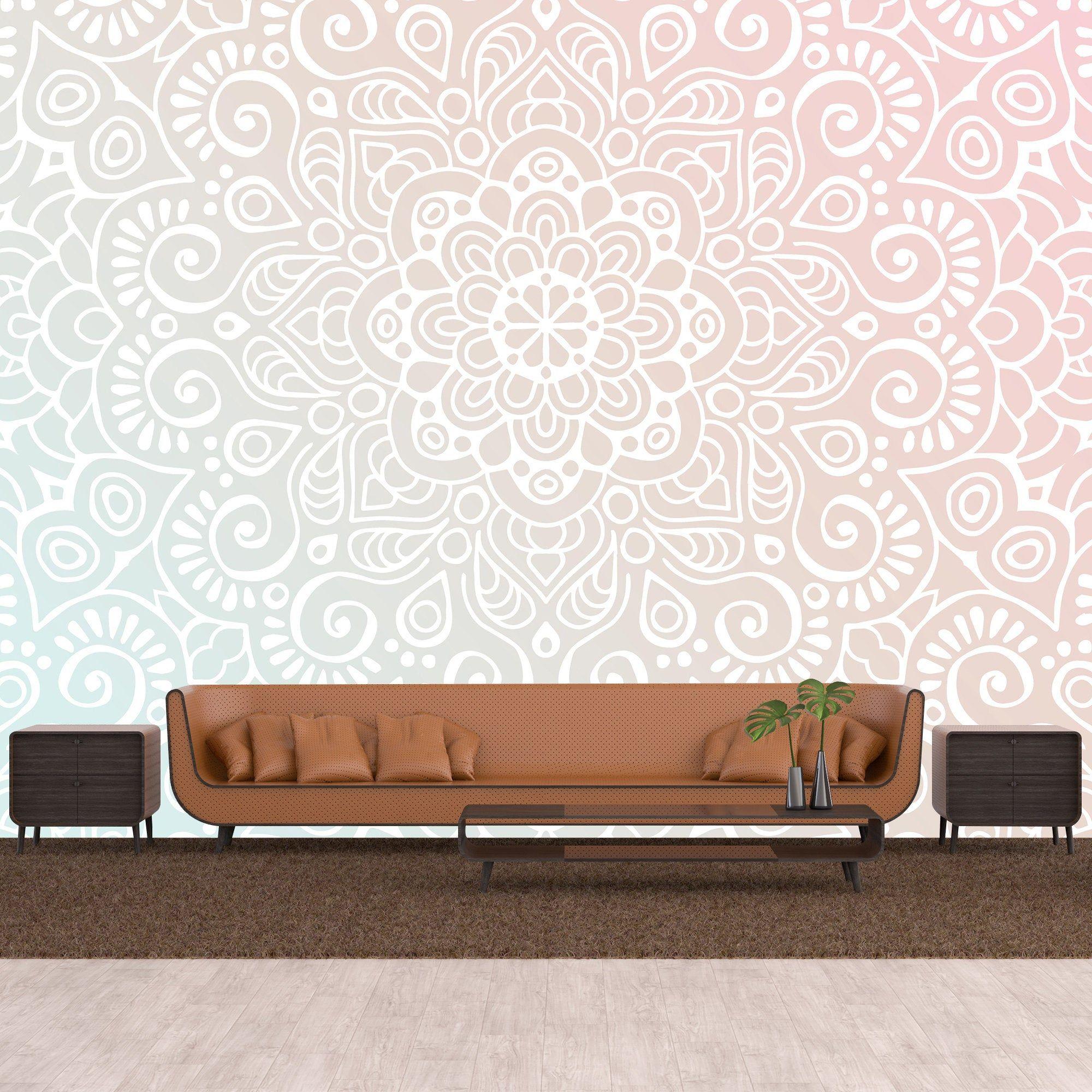 Mandala Removable Wallpaper Personalize Print Medallion Etsy Removable Wallpaper Mandala Wallpaper Smooth Walls