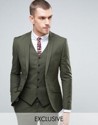 Heart & Dagger Super Skinny Suit Jacket In Khaki