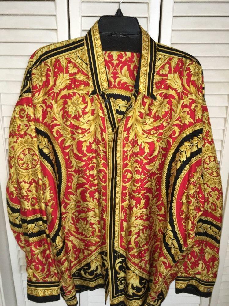 Collectible - Vintage Gianni Versace 100% silk men s shirt - 1990 s Sz XL e080982ff04