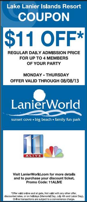 Free Lake Lanier Water Park Coupons Water Park Toddler Travel Lake