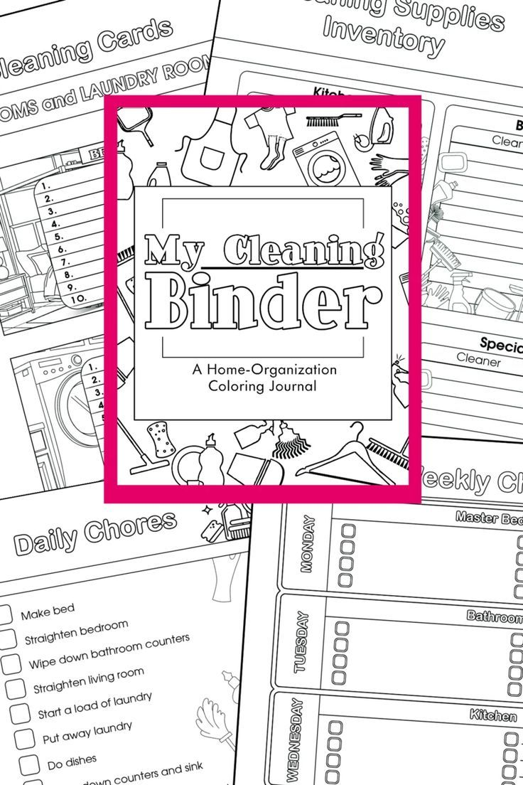 Coloring Cleaning Binder - A Home Organization Binder #summerhomeorganization