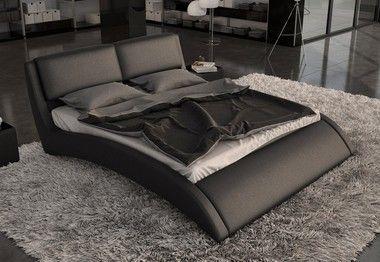 Modrest Modern Black Eco Leather Queen Size Bed Frame With Curves Modern Platform Bed Leather Bed Leather Platform Bed