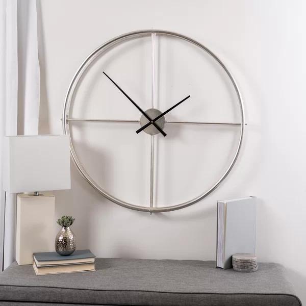 Orren Ellis Oversized Doughty 32 Wall Clock Reviews Wayfair Silver Wall Clock Wall Clock Black Wall Clock