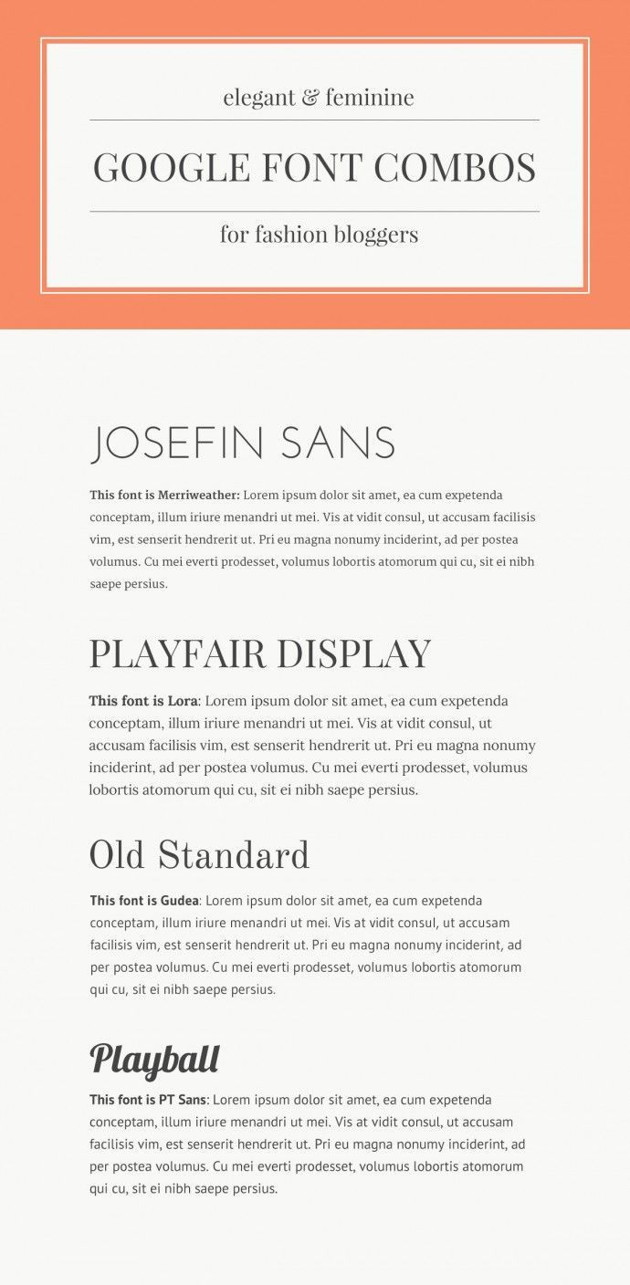 elegant and feminine google font combinations for fashion bloggers #fonts #typography