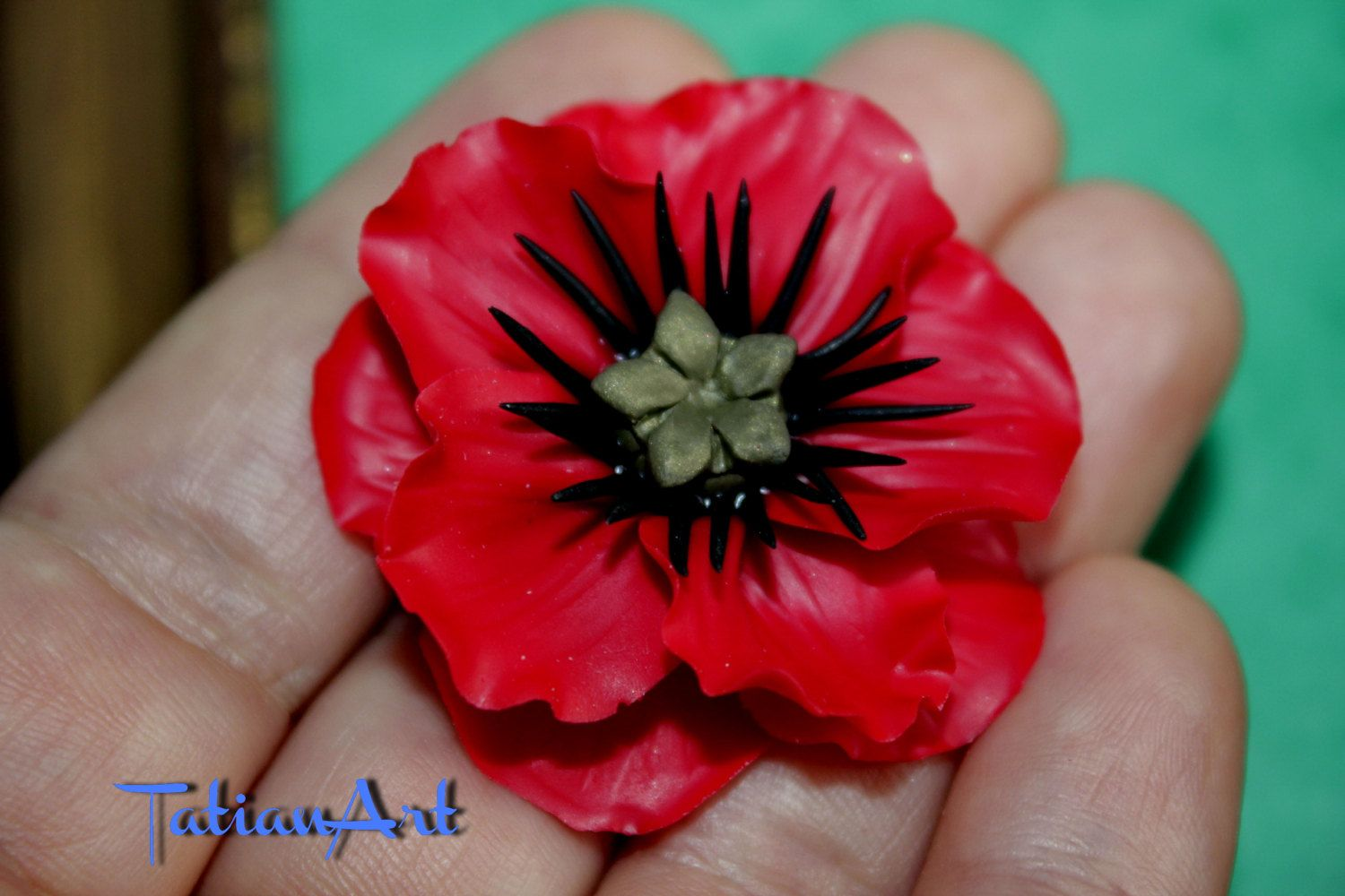 Great Red Poppy  Chabochon  Handmade Polymer clay Flower Poppy Jewelry Supplyes Red Unlimited quantities di FlowerClaySupplies su Etsy