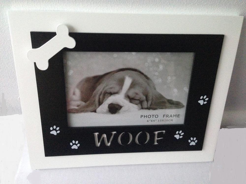 Dog Woof Photo Frame with Dog Bone & Paw Prints - Family Pet Modern ...