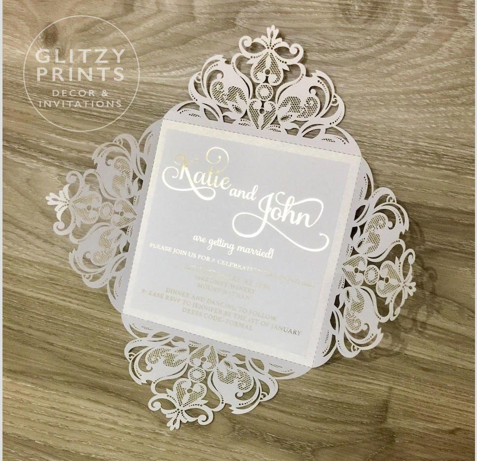 Gold Foil Wedding Invitation Sample, Laser Cut Invitation ...