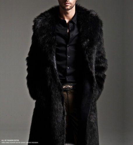29c70845673c98 Luxury-Black-Faux-Fur-Coat-Men-Outerwear-Warm-Long-Jacket-Winter-Overcoat- Parka