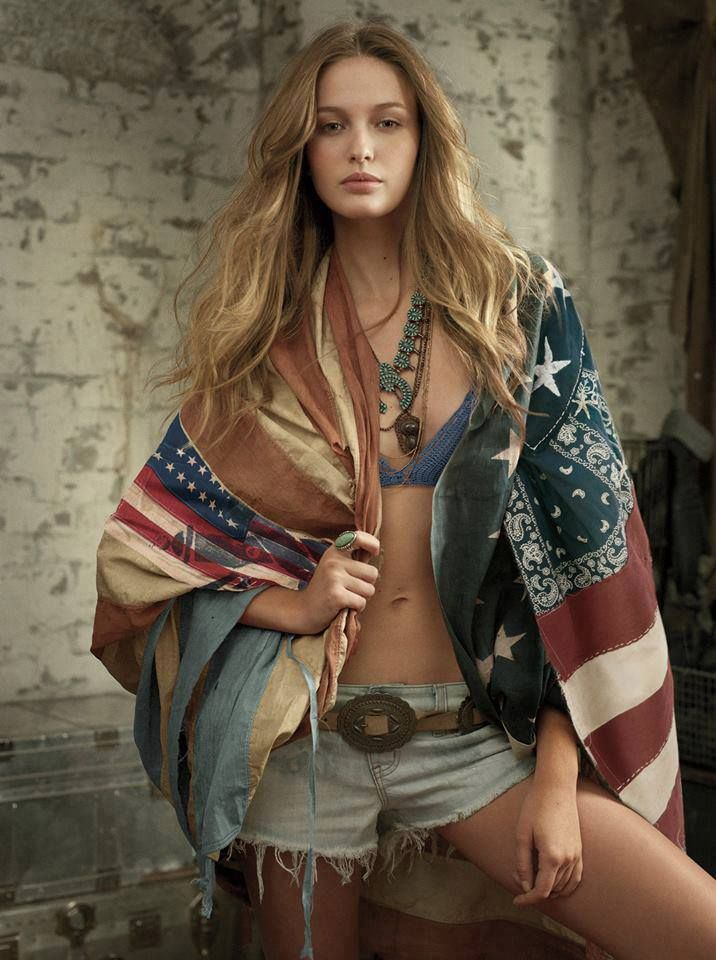 American flag | girl | shorts | long hair | blonde hair