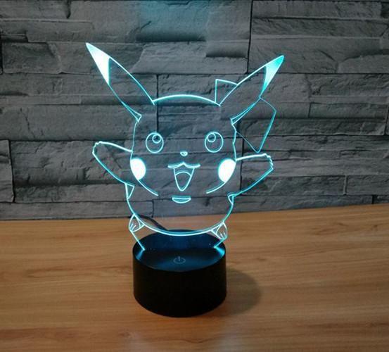 Xmas Pikachu Led Night Lamp With 7 Change Colors Led Night Lamp Pokemon Lamp