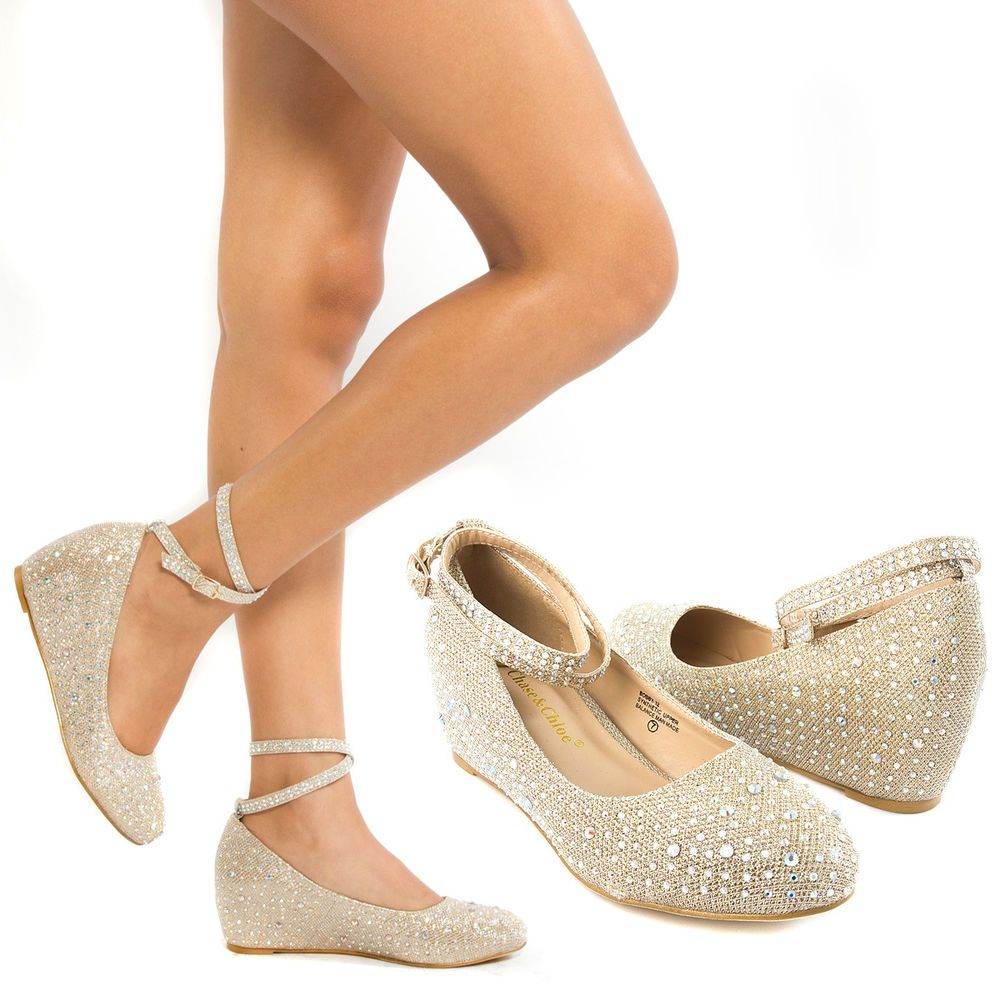 New Gold Ankle Strap Crystal Wedge Med Low Heel Pump Wedding Bridal Shoe Us 6 Zapatos De Novia Zapatos Dorados Tacon Zapatos De Boda