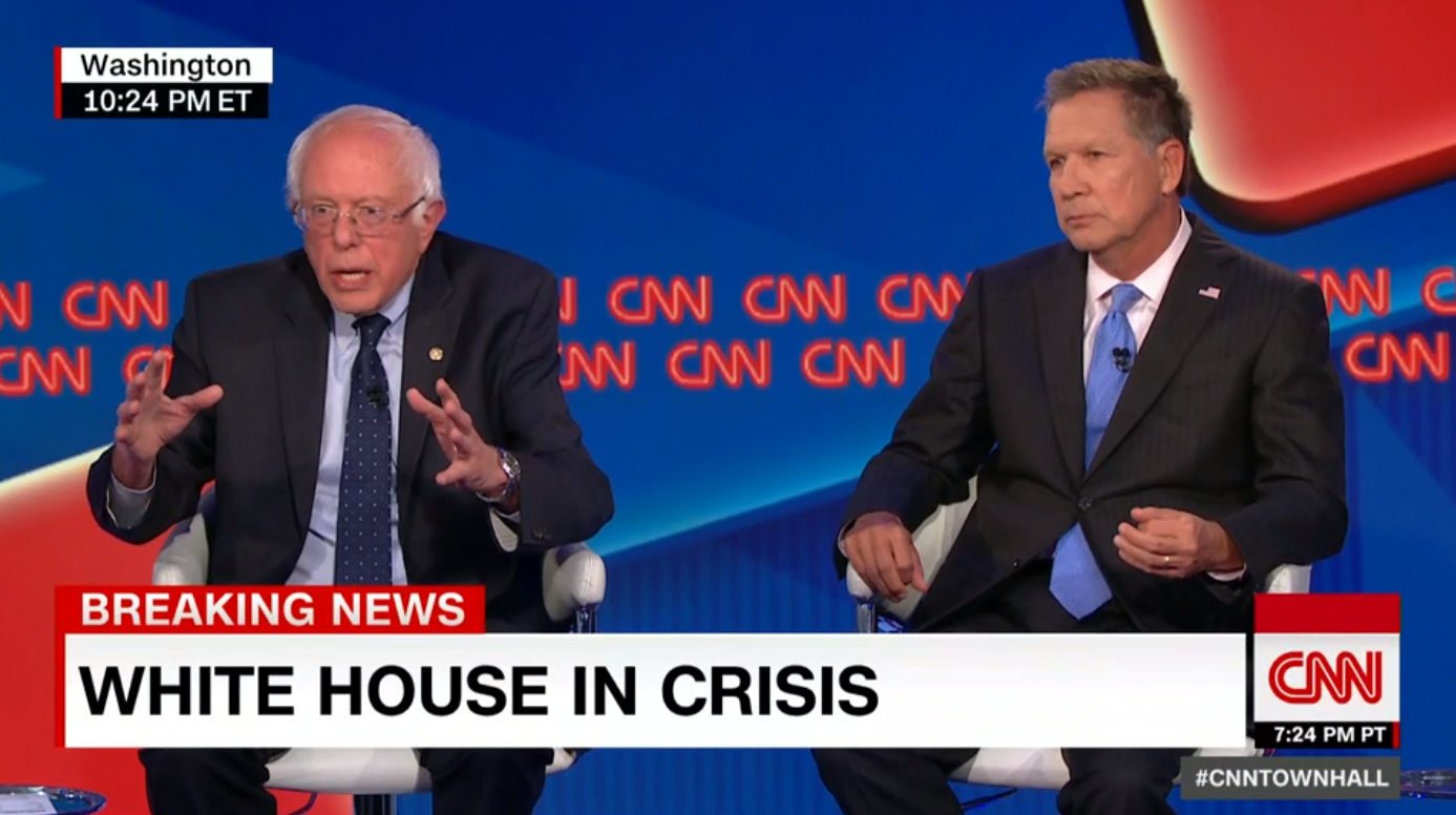 White House In Crisis Sen Sanders And Gov Kasich Hold Townhall