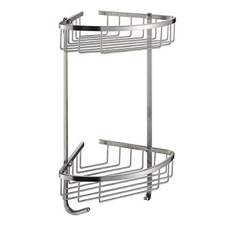 SUS 304 Stainless Steel Shower Caddy Basket 2-Tier Triangular Wall ...