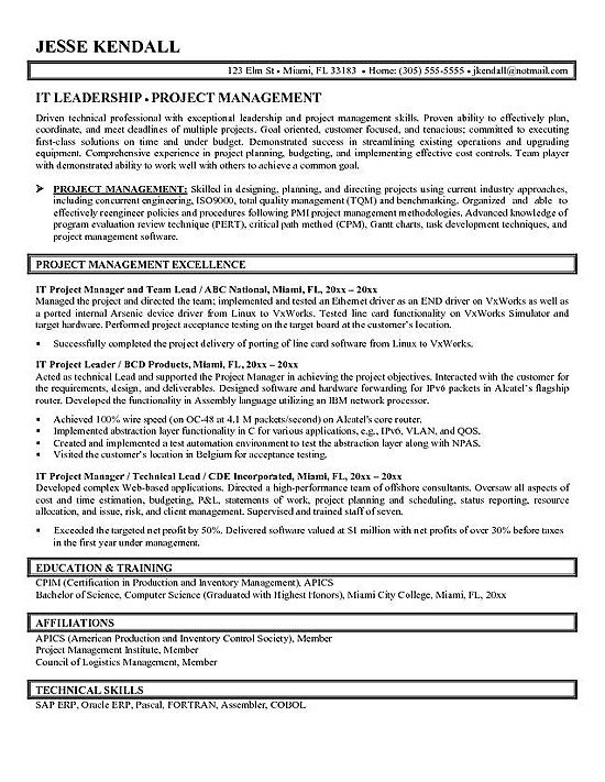 Computer Science Resume Remembrall Pinterest Sample resume - resume for project manager position