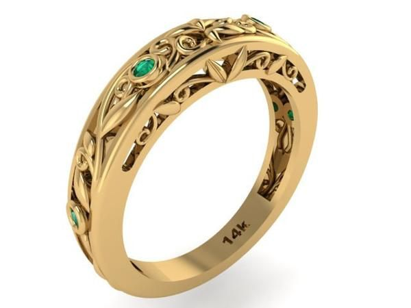 Yellow Gold Wedding Ring Natural Emeralds Stone Band Vine and