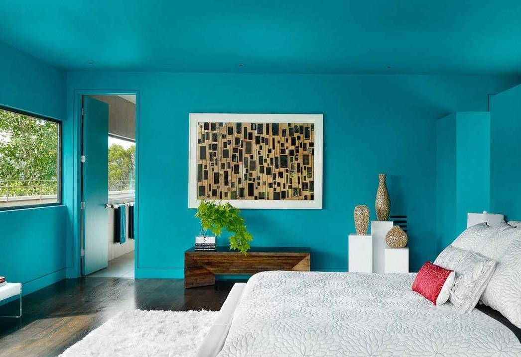 Bedroom Teal Decorating Ideas With Wall Art And Wooden Console Table And Bed Interior Color Teal Decora Bedroom Wall Paint Bedroom Wall Colors Bedroom Colors