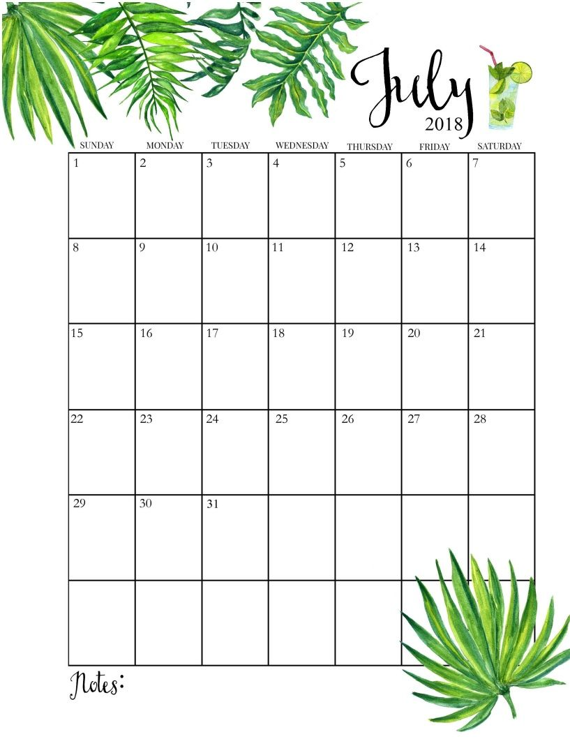 July 2018 Calendar PDF Word Execl Vertical and Landscape Format
